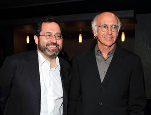 """Michael Barker and Larry David at the after party of the California premiere of """"Whatever Works."""""""