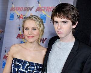 "Kristen Bell and Freddie Highmore at the California premiere of ""Astro Boy."""