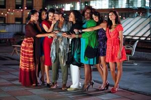 """Anika Noni Rose as Yasmine, Kerry Washington as Kelly, Janet Jackson as Joanna, Kimberly Elise as Crystal, Phylicia Rashad as Gilda, Loretta Devine as Juanita, Tessa Thompson as Nyla and Thandie Newton as Tangie in """"For Colored Girls Who Have Considered Suicide When the Rainbow Is Enuf."""""""