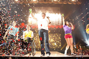 """Chord Overstreet as Sam Evans, Kevin McHale as Artie Abrams, Cory Monteith as Finn Hudson and Lea Michele as Rachel Berry in """"Glee the Concert Movie."""""""