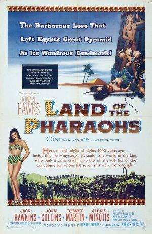 "Poster art for ""Land of the Pharaohs."""