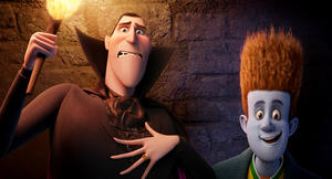 "Dracula voiced by Adam Sandler and Johnnystein voiced by Andy Samberg in ""Hotel Transylvania."""