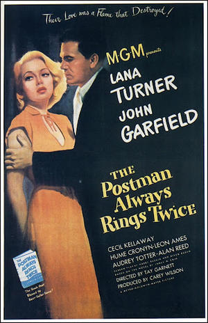 """Poster art for """"The Postman Always Rings Twice."""""""