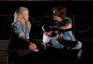 "Julianne Hough as Sherrie Christian and Diego Boneta as Drew Boley in ""Rock Of Ages."""