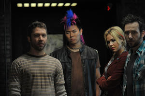 "Michael Weston, Charles Chu, Arielle Kebbel and Ryan O'Nan in ""The Brooklyn Brothers Beat the Best."""
