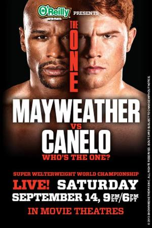 "Poster art for ""The One: Mayweather vs. Canelo."""