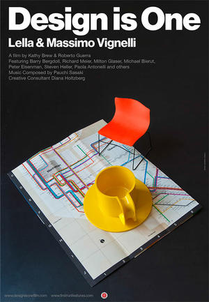 "Poster art for ""Design Is One: Lella & Massimo Vignelli."""