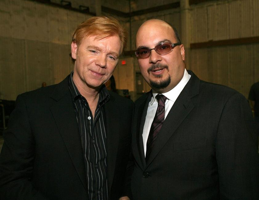 David Caruso and Anthony E. Zuiker at the CSI Miami 100th Episode Cake Cutting Party.