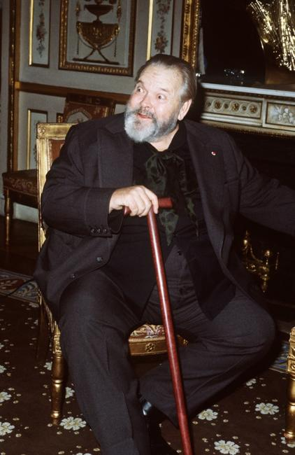American film actor and director Orson Welles attending a ceremony at the French Culture ministry in Paris.