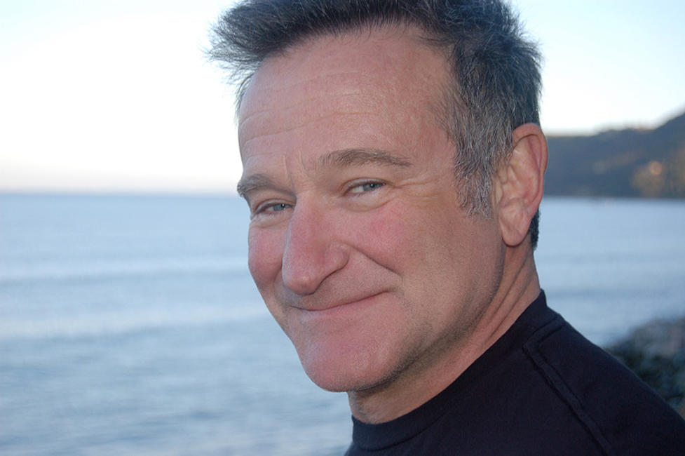 Robin Williams on the set of