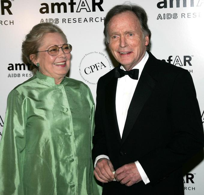Dick Cavett and Dr. Mathilde Krim at the amfAR New York Gala.