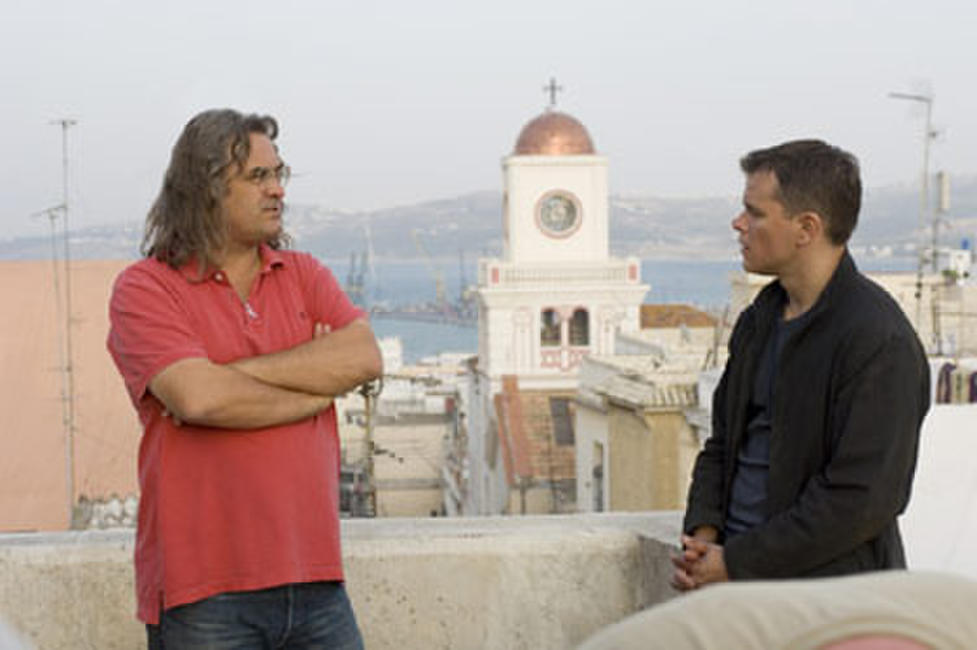 Director Paul Greengrass and Matt Damon on the set of