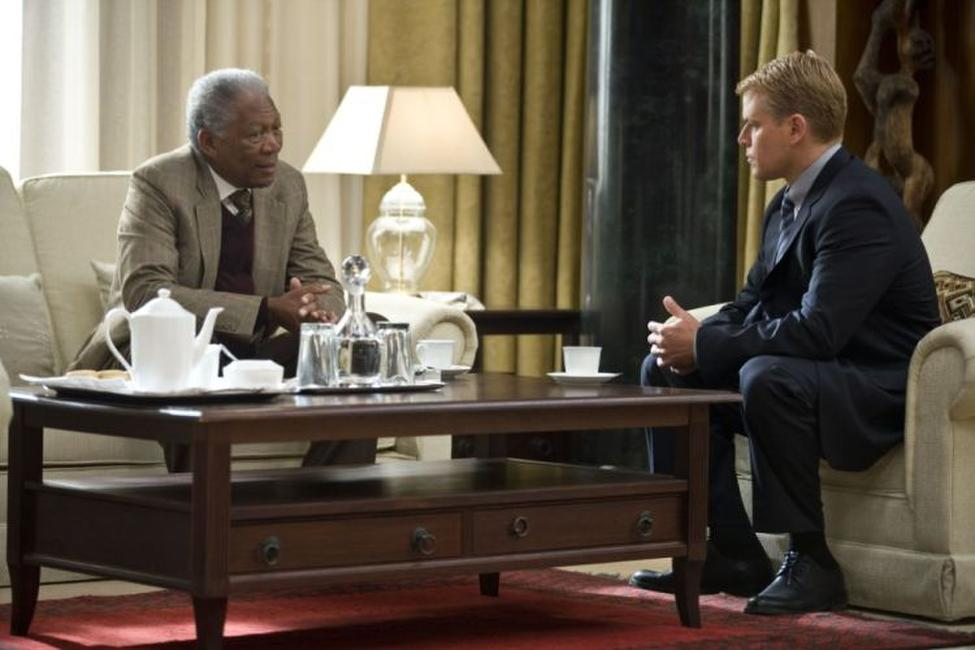 Morgan Freeman as Nelson Mandela and Matt Damon as Francois Pienaar in