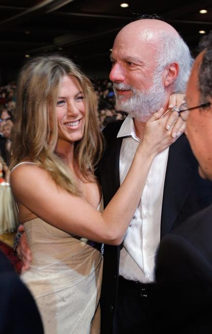 Jennifer Aniston and James Burrows at the press room during the 33rd Annual People's Choice Awards.