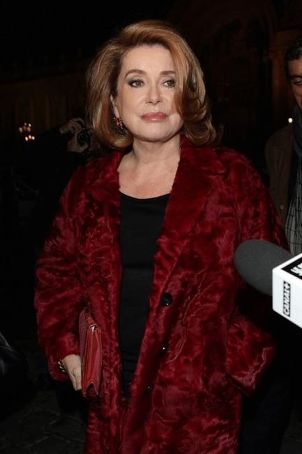 Catherine Deneuve at the Yves Saint Laurent show during the Paris Fashion Week.