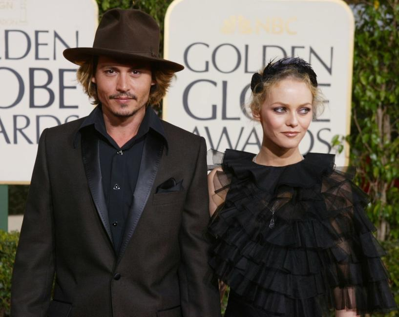 Johnny Depp and Vanessa Paradis at the 61st Annual Golden Globe Awards.