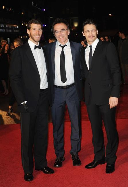 Writer Aron Ralston, Danny Boyle and James Franco at the European premiere of
