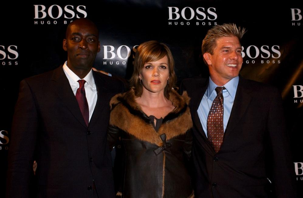 Michael Jace, Catherine Dent and Kenneth Johnson at the grand re-opening party of Hugo Boss Rodeo store.