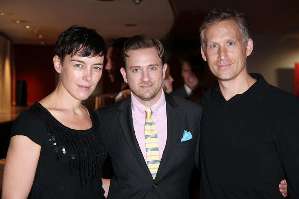 Tom Lenk, Reed Diamond and guest at the premiere of