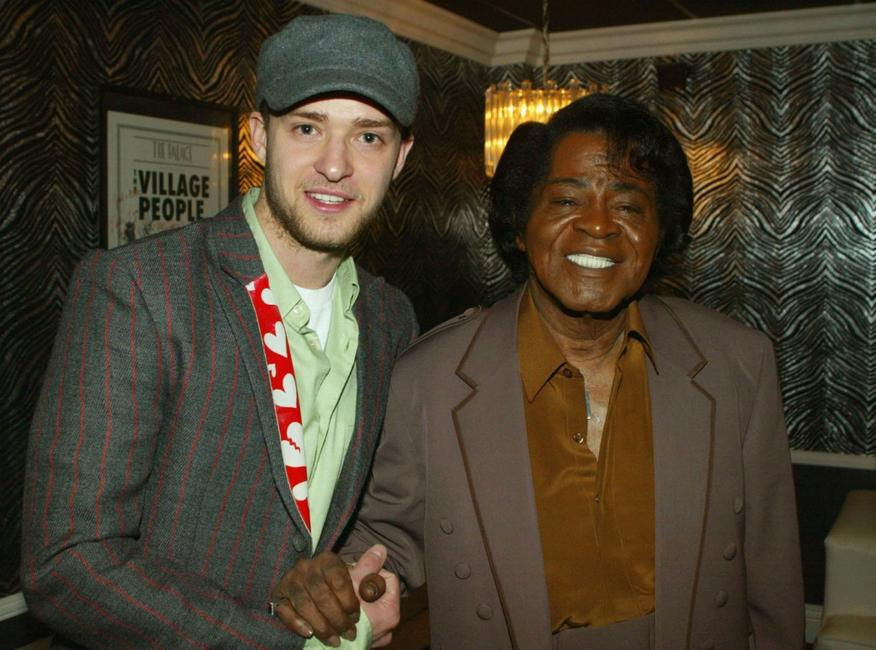 Justin Timberlake and James Brown at the Will.I.Am Music Group's Tsunami Benefit Concert.