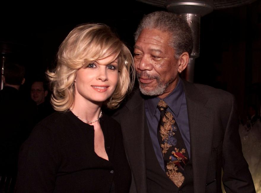 Monica Potter and Producer Morgan Freeman at the premiere of