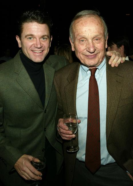 John Michael Higgins and A.R. Gurney at the opening night party for Lincoln Center Theater's