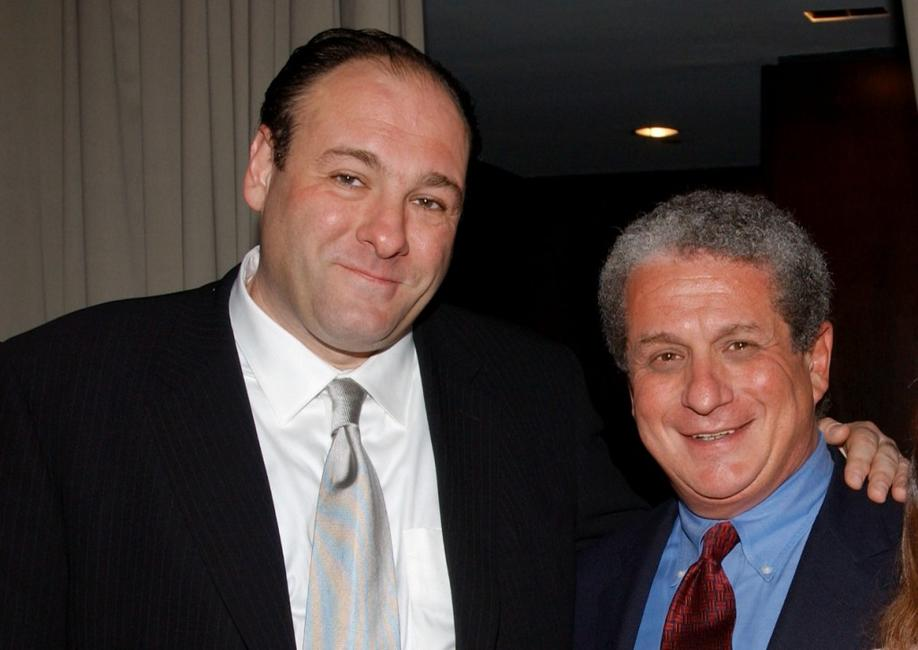James Gandolfini and Douglas Greenberg at cocktail reception before the benefit premiere of