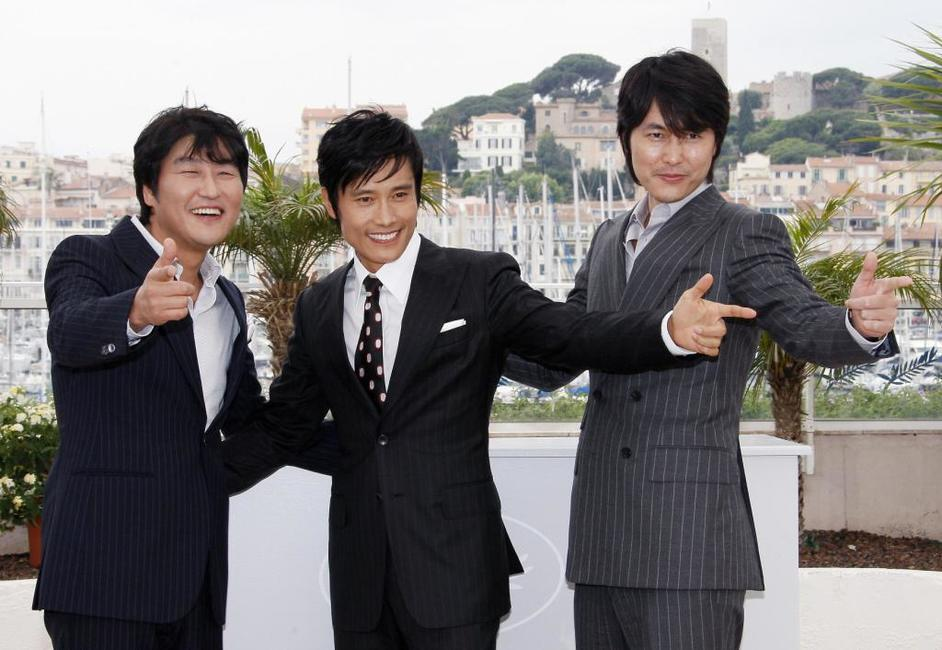 Song Kang-ho, Lee Byung-Hun and Jung Woo-Sung at the photocall of