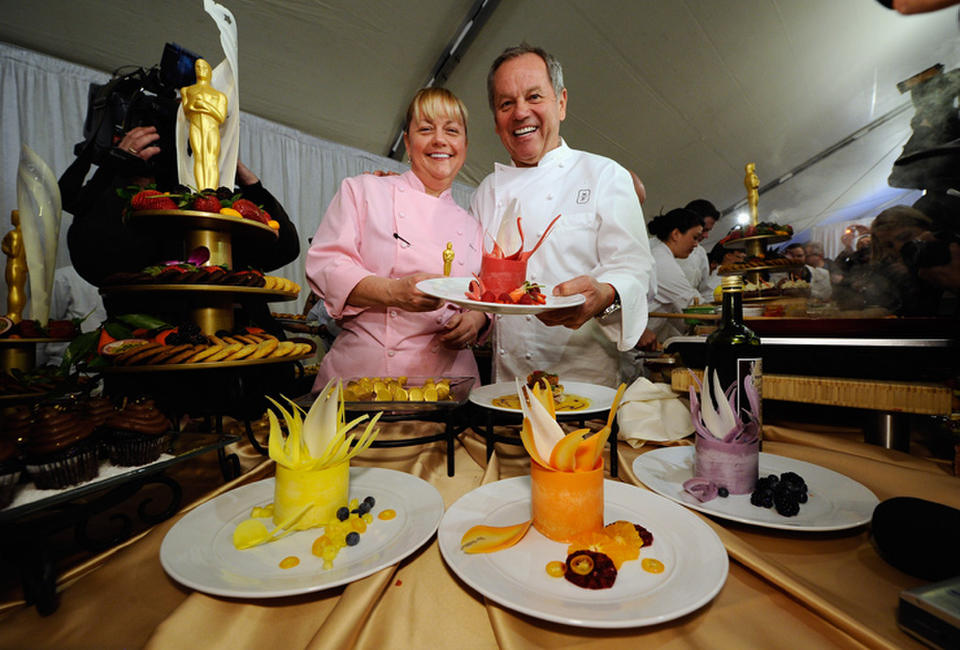 Executive pastry chef Sherry Yard and Wolfgang Puck at the 83rd Annual Academy Awards Red Carpet Food & Beverage Preview in California.