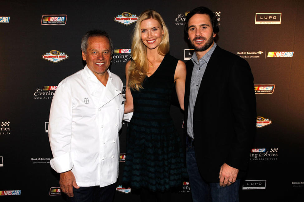 Wolfgang Puck, Chandra and Jimmie Johnson at the NASCAR Evening Series during the day 2 of the NASCAR Sprint Cup Series Champions Week.