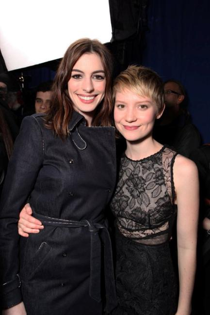 Anne Hathaway and Mia Wasikowska at the Alice In Wonderland Ultimate Fan Event.