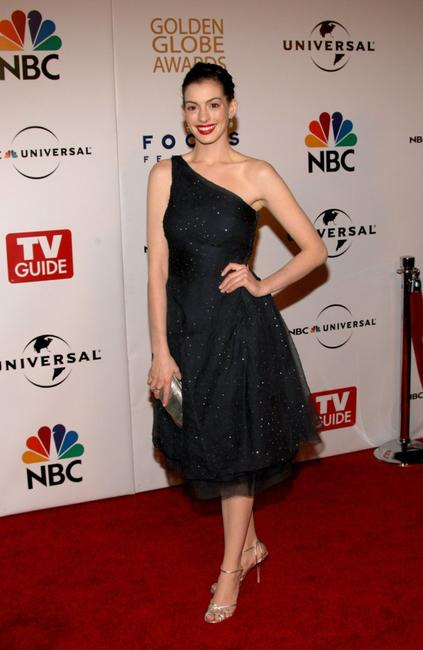 Anne Hathaway at the Universal/NBC/Focus Features Golden Globe after party.