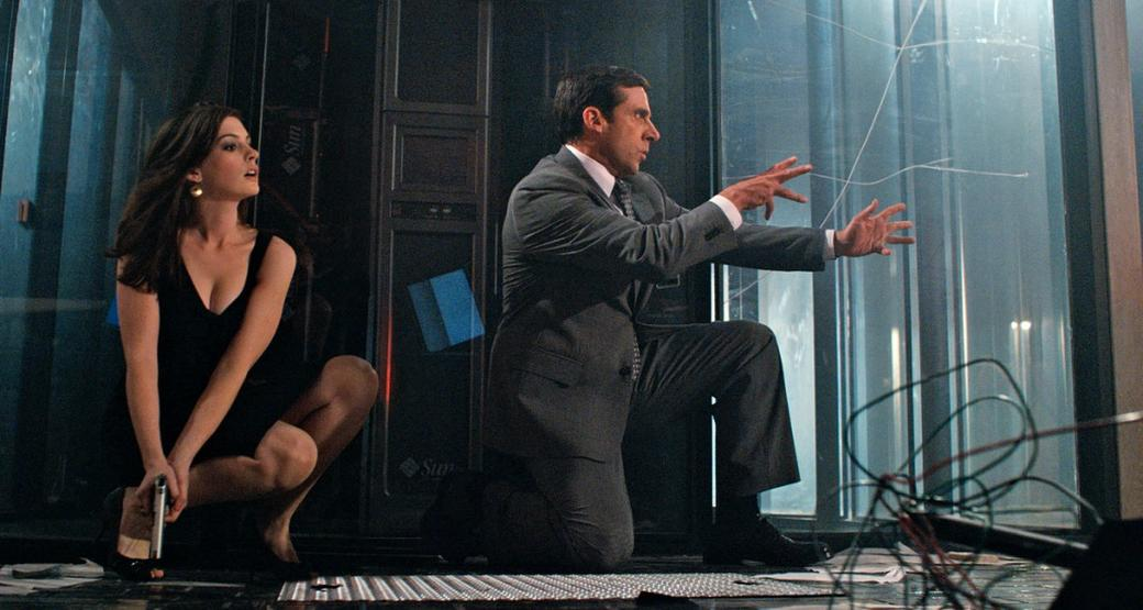 Anne Hathaway as Agent 99 and Steve Carell as Maxwell Smart in