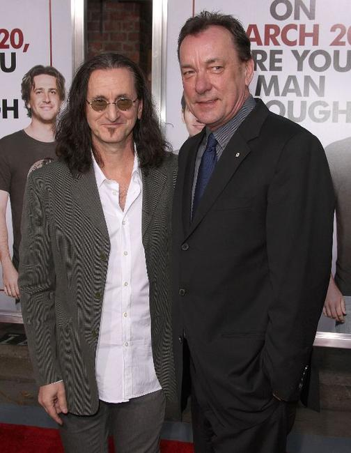 Geddy Lee and Neil Peart at the premiere of