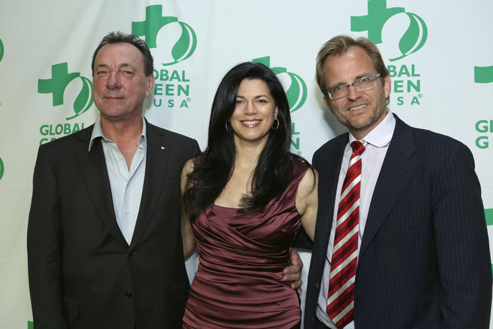 Neil Peart, photographer Carrie Nuttall and Global Green CEO Matt Petersen at the Global Green USA's 10th Annual Pre-Oscar party in California.