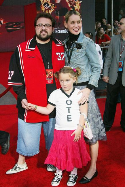 Director Kevin Smith, Jennifer Schwalbach Smith and their daughter Harley at the premiere of