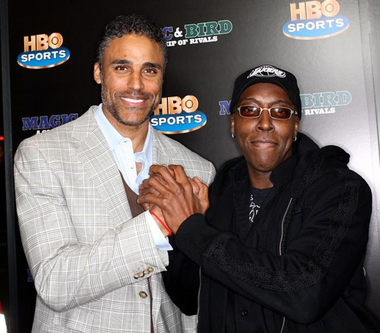 Rick Fox and Arsenio Hall at the premiere of