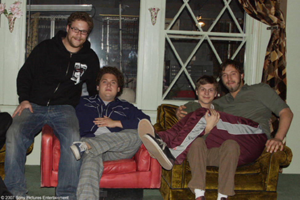 Seth Rogen, Jonah Hill, Michael Cera and Evan Goldberg on the set of