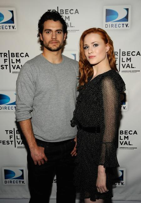 Henry Cavill and Evan Rachel Wood at the DIRECTV Tribeca Press Center.