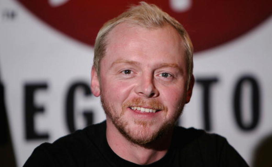 Simon Pegg at the Virgin Megastore in Hollywood.
