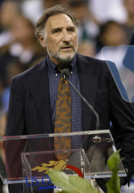 Judd Hirsch addresses the audience during opening ceremony of the US Open.