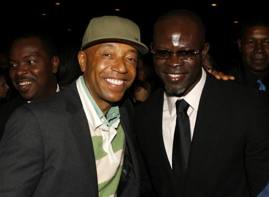 Djimon Hounsou and Russell Simmons at the 38th annual NAACP Image Awards.