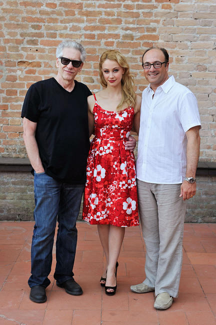 Director David Cronenberg, Sarah Gadon and producer Martin Katz at the portrait session of