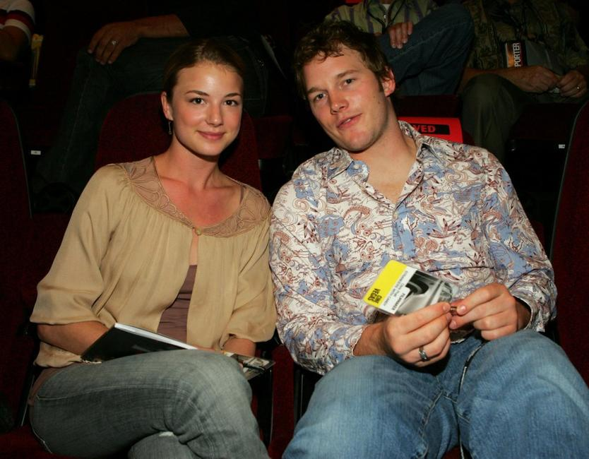 Emily VanCamp and Chris Pratt at the opening night of