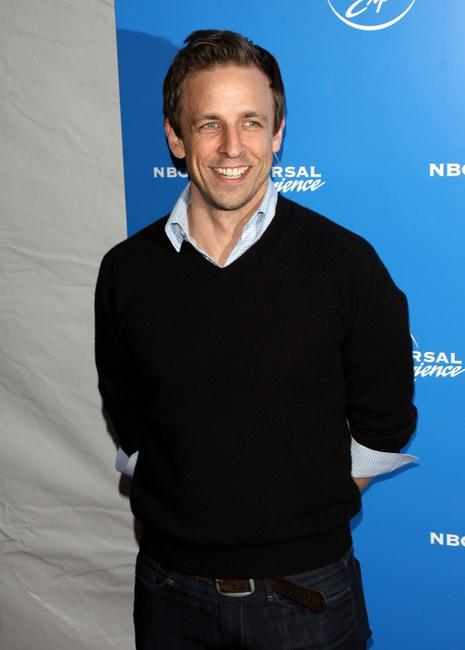 Seth Meyers at the NBC Universal Experience at Rockefeller Center as part of upfront week.