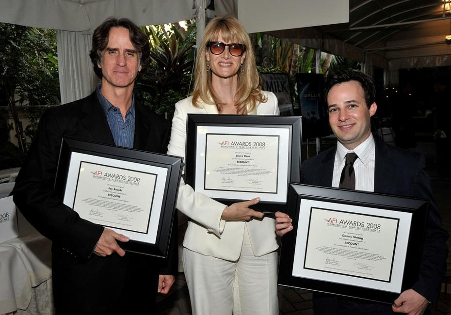 Director Jay Roach, Laura Dern and Danny Strong at the AFI Awards 2008.