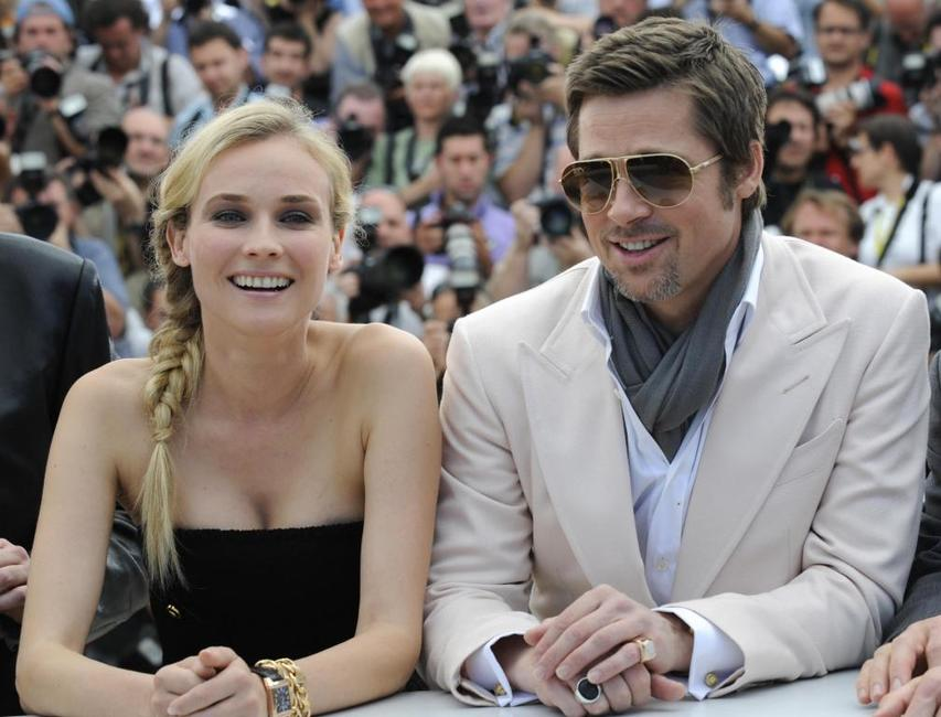Diane Kruger and Brad Pitt at the photocall of