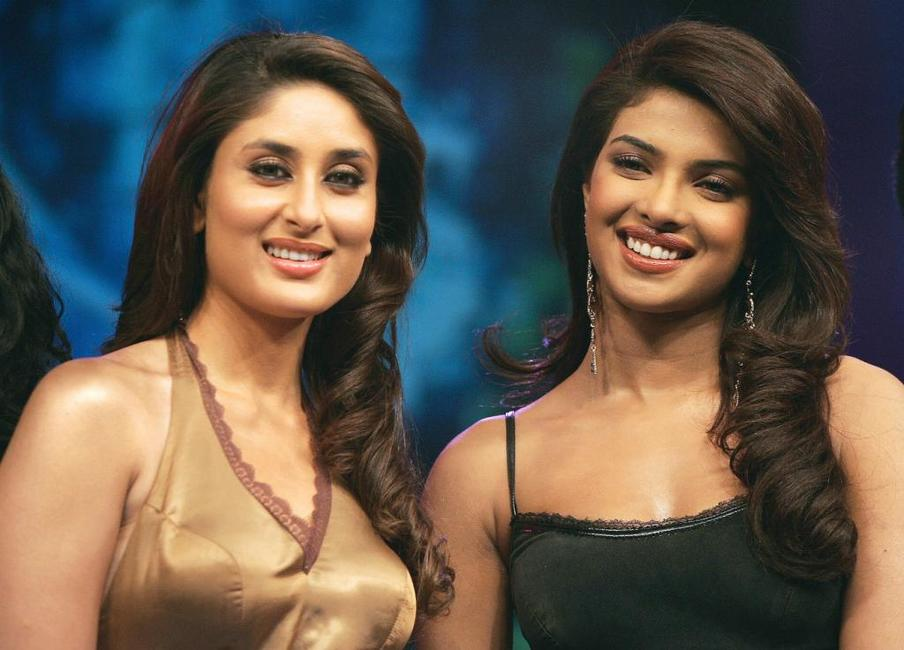 Kareena Kapoor and Priyanka Chopra on the set of the