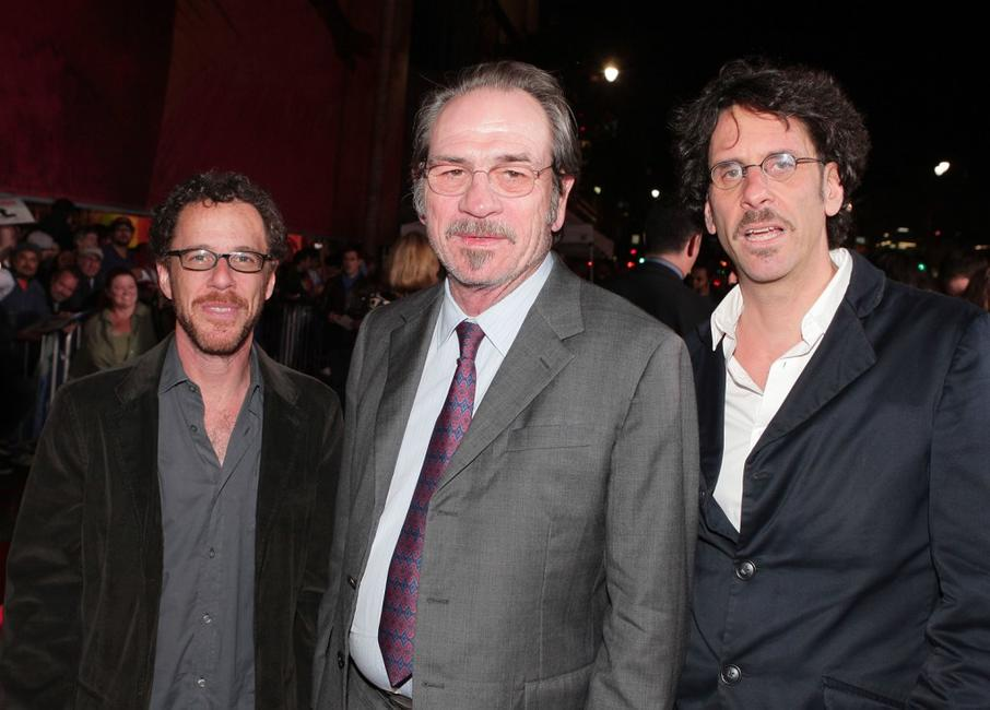 Tommy Lee Jones, Ethan Coen and Joel Coen at the premiere of