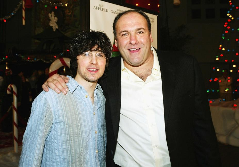 Josh Zuckerman and James Gandolfini at the premiere of